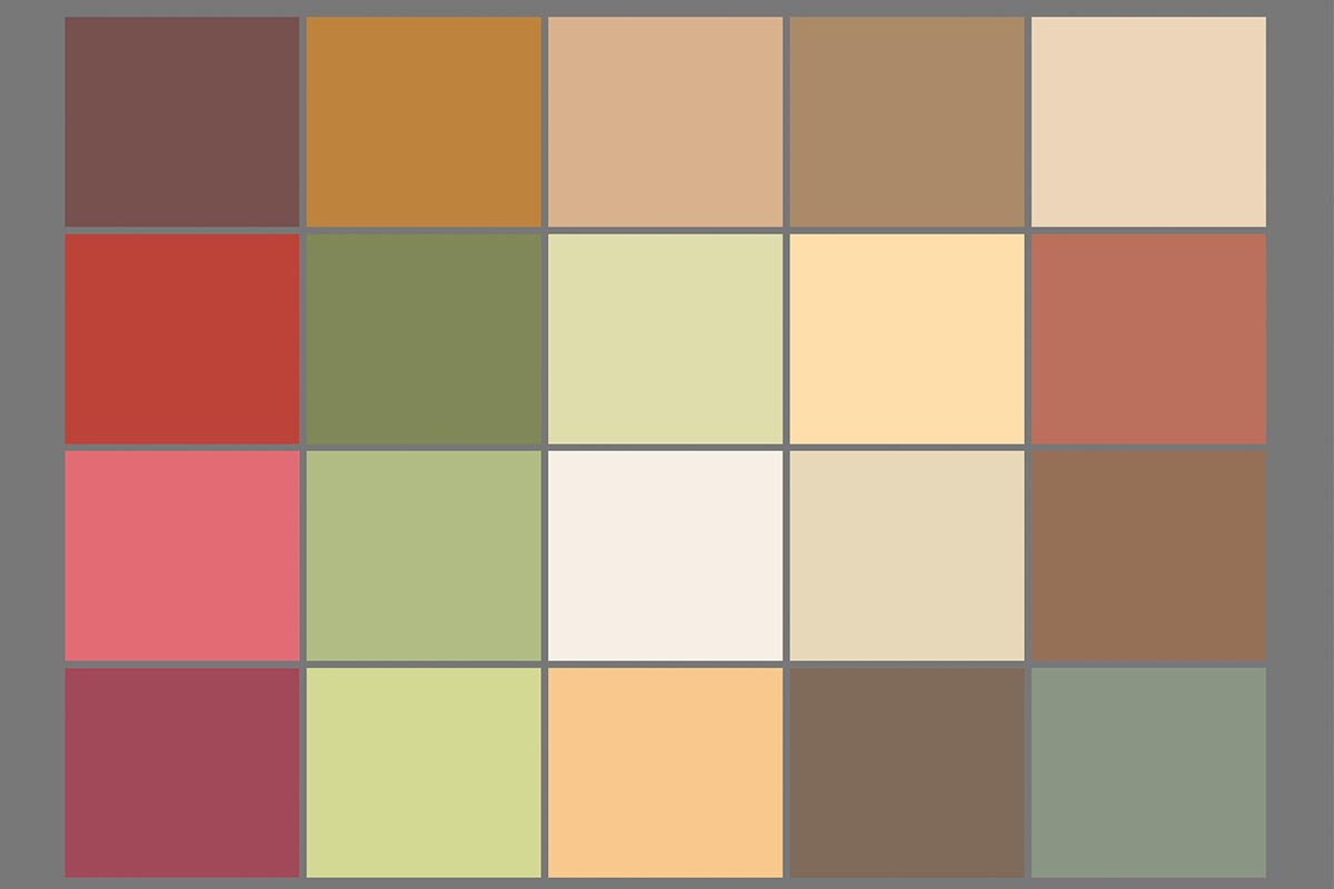"Characteristic colour palette for the experience ""Warmth"""
