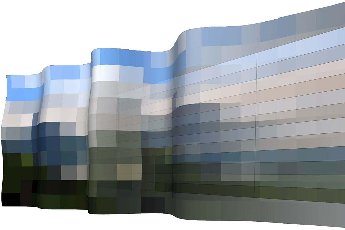"4.The colour mood of the mosaic painting is supposed to relate to the forming principles of the build structure. Single colour tones are weighted more heavily, others less and the total number of tones is reduced. The wavy form of our visualisation is meant to show: ""The landscape atmosphere is blown against the building.."""