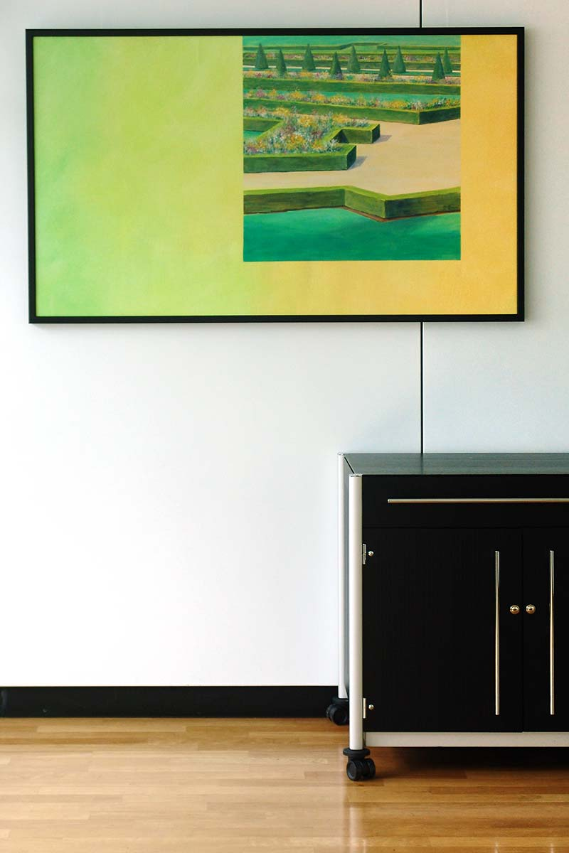 element mural tv perfect with the elements of the interior several motifs in powerful green. Black Bedroom Furniture Sets. Home Design Ideas
