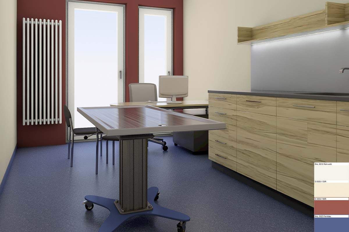 office colour design. Rendering: Colour Design Of A Treatment Room (Veterinarian Clinic) Office R