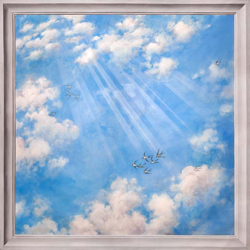 Ceiling sky on canvas with an inlay in grey tone painting