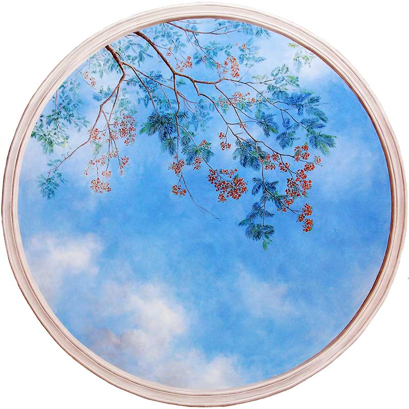 Round ceiling sky with Flamboyant to be wallpapered at dentists practice