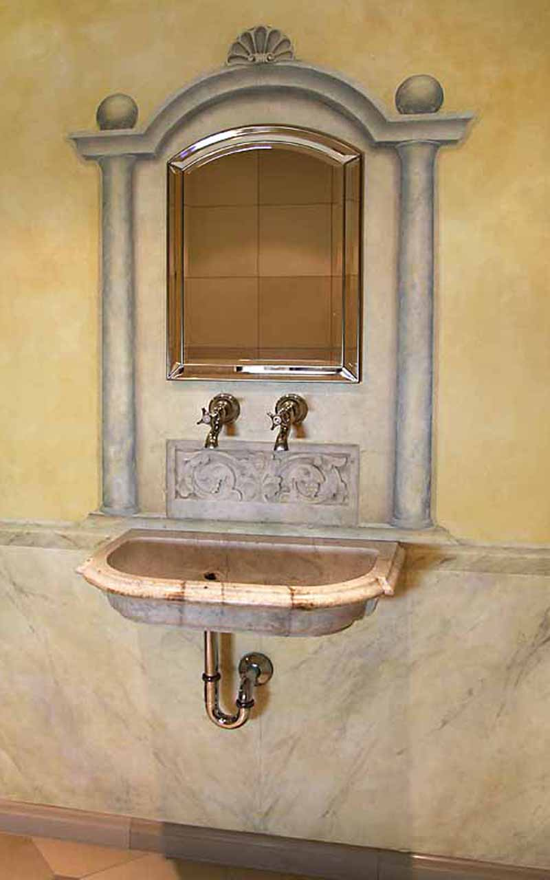painted marble pedestal in a bathroom