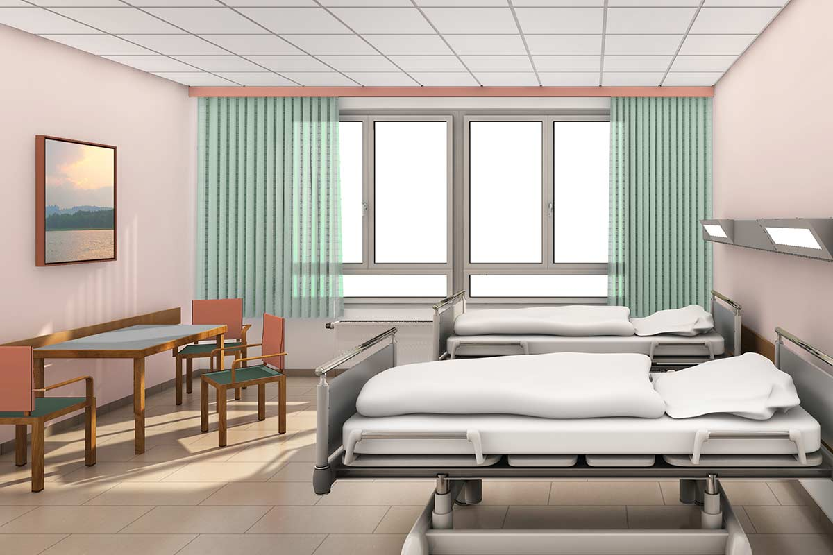 The shown patients rooms are designed for long term stay…
