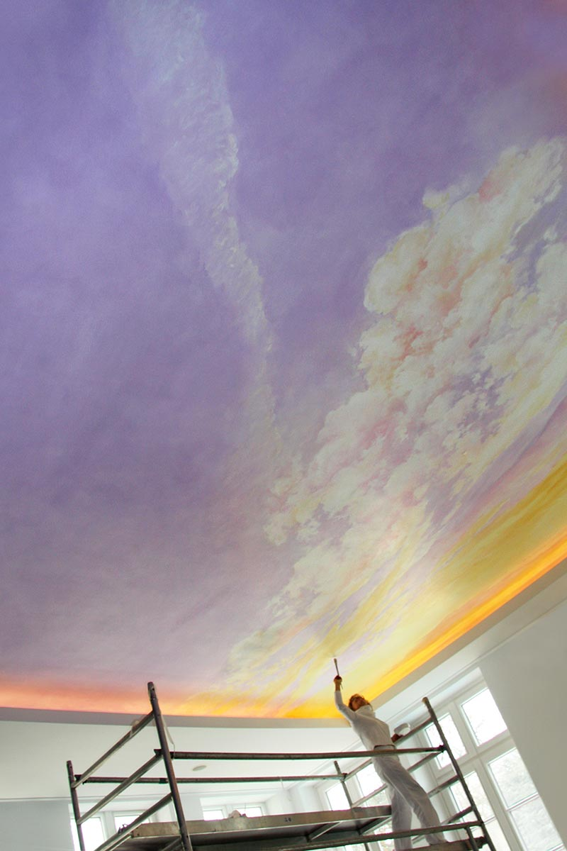 Dramatic ceiling sky in a private pool