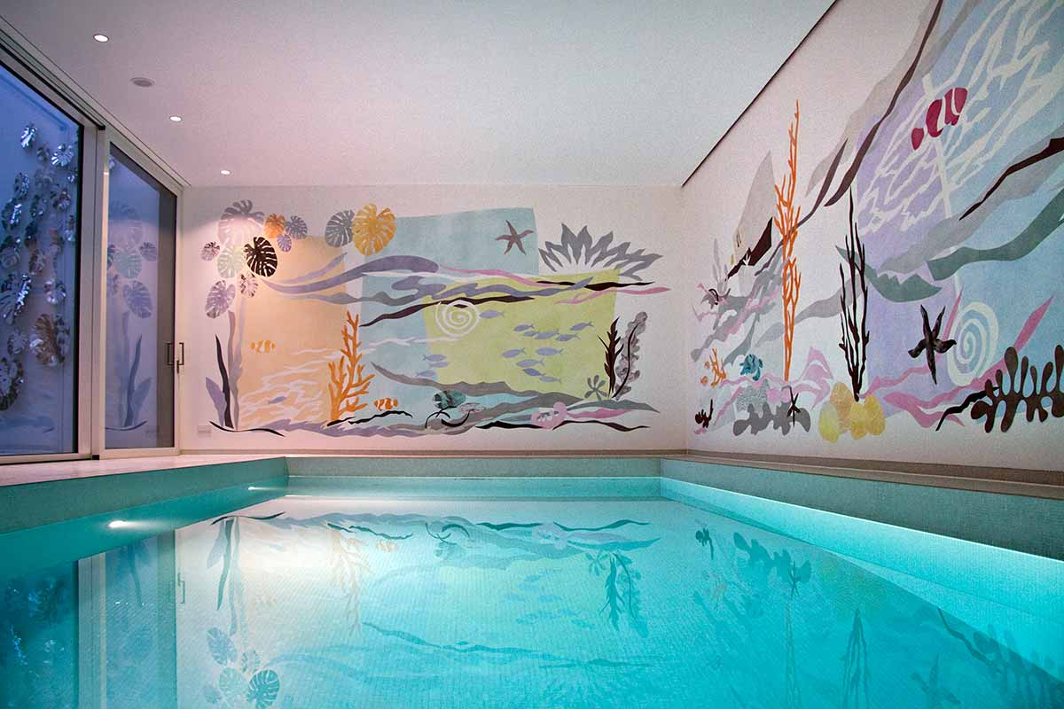 The painted pool house